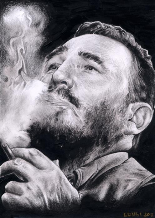 Portrait of Fidel Castro by volverine on Stars Portraits