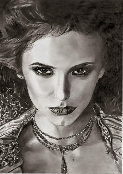 Portrait of nina dobrev by sunnyelo on stars portraits - Vampire diaries dessin ...