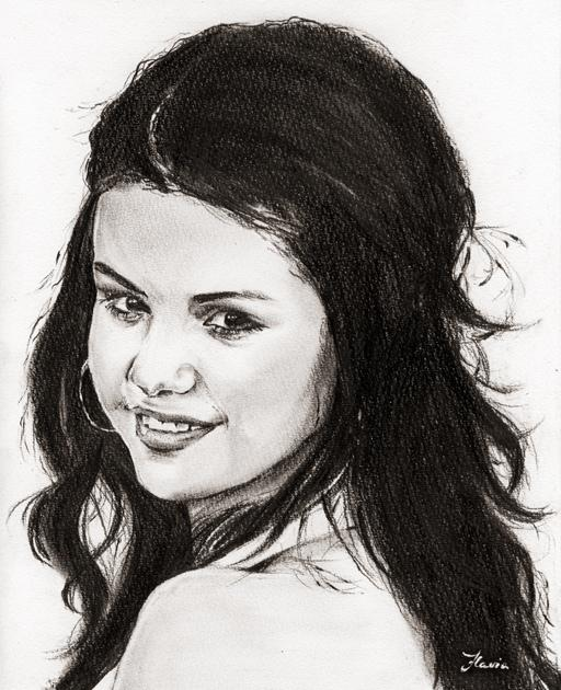 Portrait of selena gomez by luv drawing 90 on stars portraits - Selena gomez dessin ...