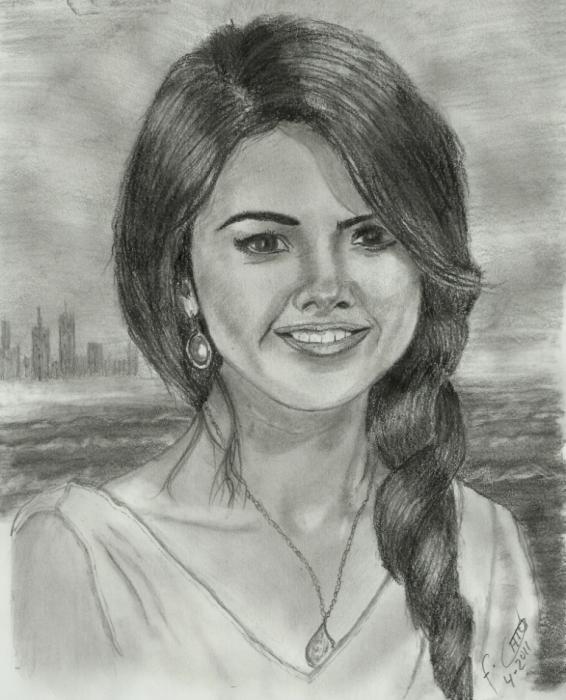 Portrait of selena gomez by chano on stars portraits - Portrait dessin facile ...