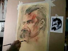 portrait sketching in charcoal -